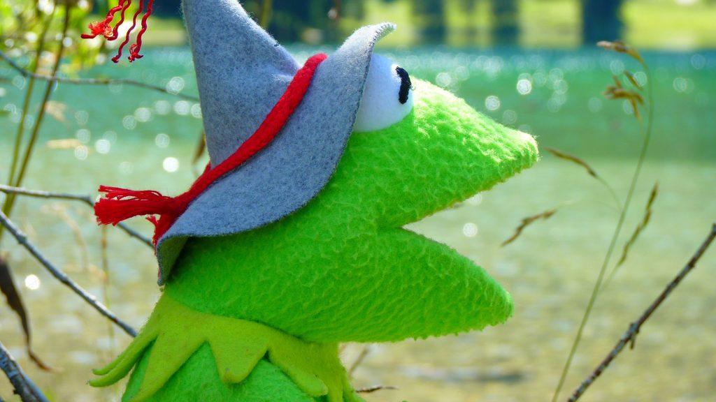 Zelený žabák z filcu